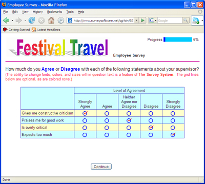 Web Survey Example